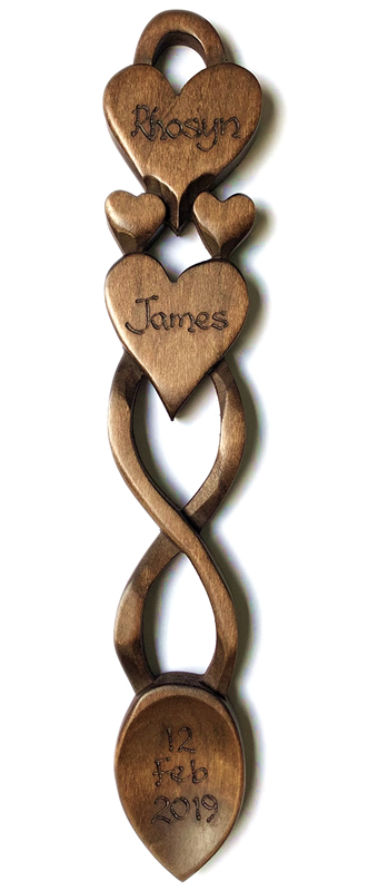 Two Hearts In One Love Spoon Welsh Love Spoons