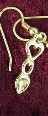 Heart Love Spoon Earrings (Gold) - 053b