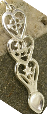Dragon Love Spoon Pendant (Silver) - 054a