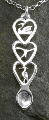 Red Kite Love Spoon Pendant (Silver) - 056a