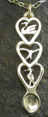 Red Kite Love Spoon Pendant (Gold) - 056b